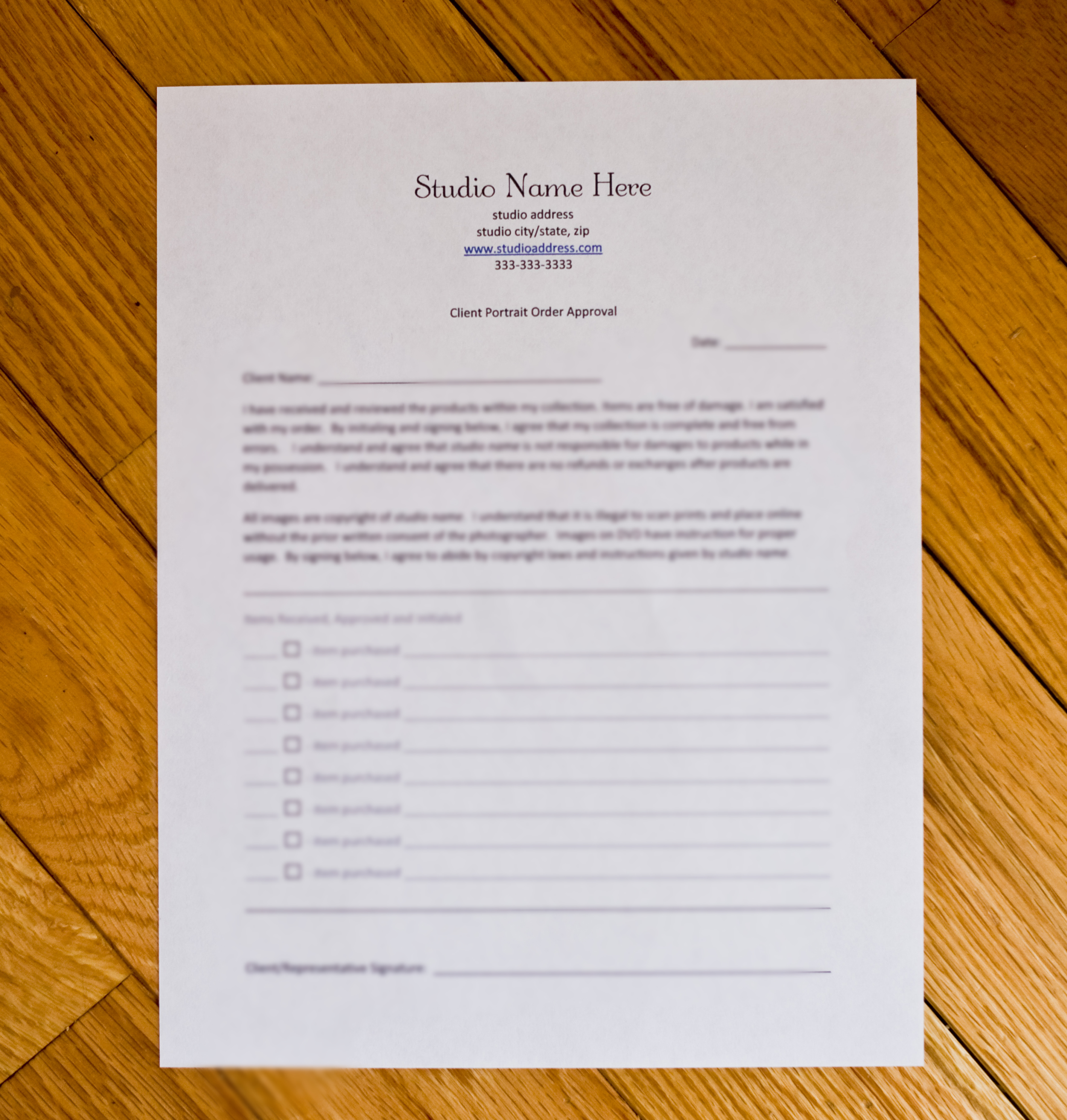 Business Forms : Newborn Posing & More, Shop